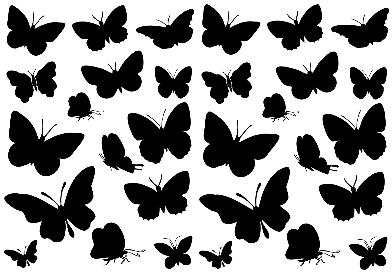 kit 30 stickers papillon pas cher. Black Bedroom Furniture Sets. Home Design Ideas