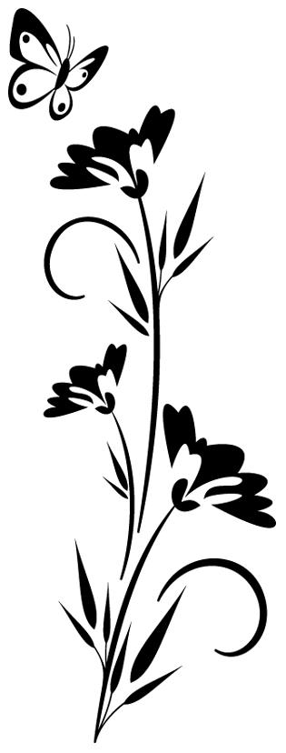 Sticker fleur papillon 2 pas cher - Papillon fleur ...