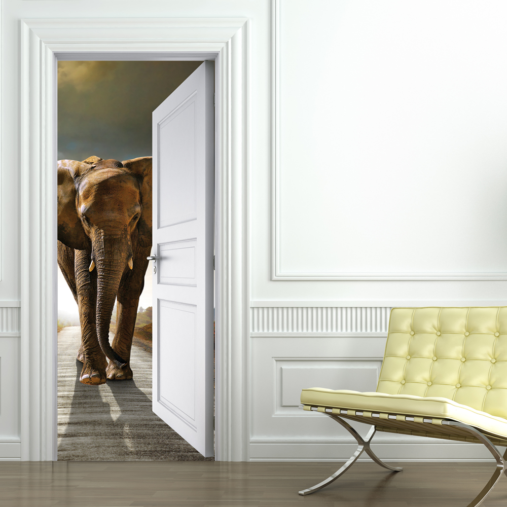 stickers porte elephant pas cher. Black Bedroom Furniture Sets. Home Design Ideas