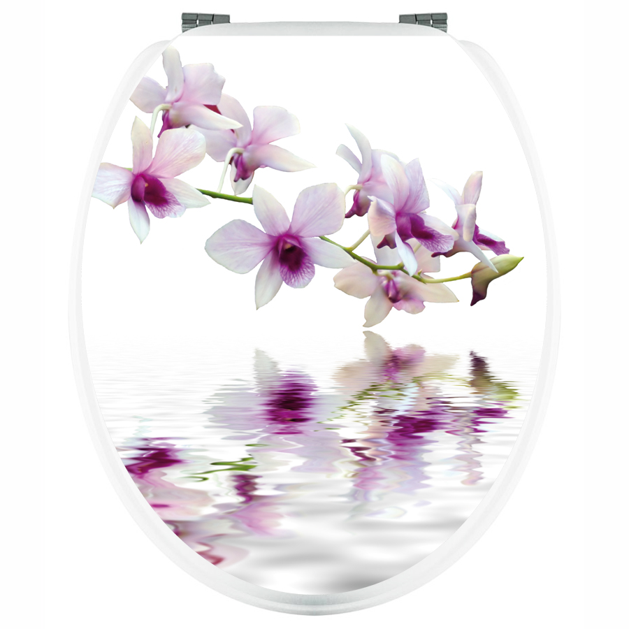 stickers pour abattant wc orchide blanche pas cher. Black Bedroom Furniture Sets. Home Design Ideas